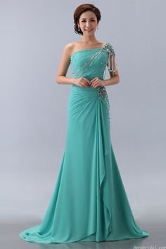 Modest Cap Sleeve Beaded Green Chiffon Formal Dress Prom Dress http://www.iwedplanner.com/wedding-vendors/wedding-dresses-and-attire/
