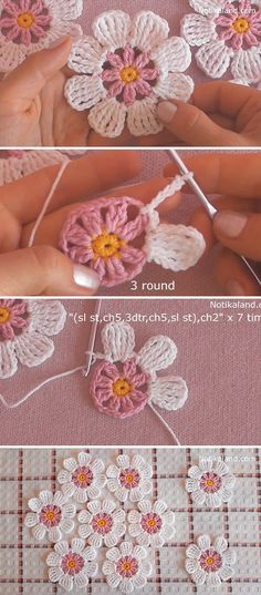 Learn Making Lace Crochet Flower Easily These lace crochet flowers are creative for so many projects. Crocheting flowers is enjoyable and it makes the perfect embellishment for accessories! Crochet Simple, Crochet Diy, Crochet Flower Tutorial, Crochet Motif, Crochet Designs, Crochet Crafts, Crochet Stitches, Crochet Projects, Crochet Ideas