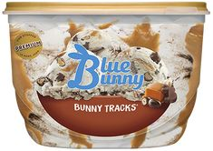 Vanilla with other natural flavors frozen dairy dessert, chocolaty peanut butter bunnies, chocolaty covered peanuts, caramel and fudge swirls. Flavor Ice, Ice Cream Flavors, Chocolate Malt, Mint Chocolate Chips, Mint Cookies, Cookies And Cream, Blue Bunny Ice Cream, Sundae Toppings, Cookie Crunch