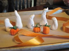 ghosts and pumpkins out of clay