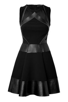 wool and black leather dress from David Koma fuses futuristic patterning with an ultra-luxe material mix