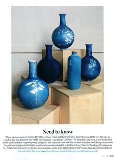 Blueware by Studio Glithero: cyanotype vases