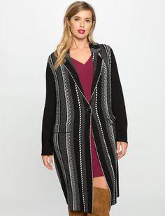 Long Jacquard Sweater Coat