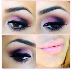 Pink and purple makeup.