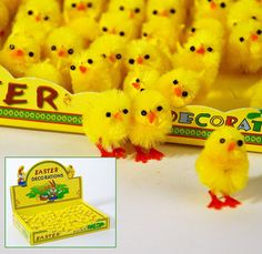 EIGHTY FOUR (84) Yellow Chenille Easter Chicks Peeps Feather Tree Basket Decorations Ornaments. $14.95, via Etsy.