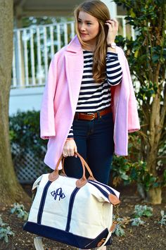 I love pink with a shirt that has stripes . pink coats are just too cute !