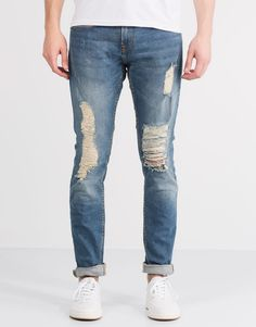 Pull&Bear - hombre - jeans - jeans slim fit con rotos - azul - 05683553-V2016