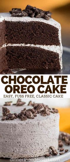 Oreo Cake is the PERFECT combo of incredibly moist chocolate cake from scratch layered with sweet buttercream frosting made with crushed Oreo cookies. #birthday #chocolate #cake #dessert #birthdaycake #oreocake #oreo #sweets #dinnerthendessert
