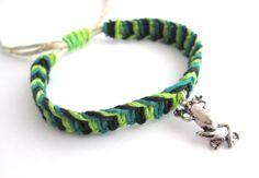 Frog Bracelet Adjustable Jewelry Hemp Bracelet by JackZenHemp, $10.00 #frog #bracelet #jewelry #hempbracelet #hempjewelry #shophandmade #etsy #handmade #macrame #cool #frogjewelry #natural #organic #ecofriendly #giftideas