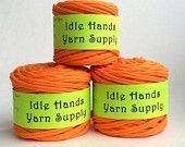 Tangerine Orange T Shirt Yarn Event Ts Bundle- Lot of 3 balls totaling 99.5 Yards 4 WPI Lot2