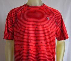Champion Mens Vapor PowerTrain Short Sleeve T Shirt Red Striped Large  #Champion #BasicTee