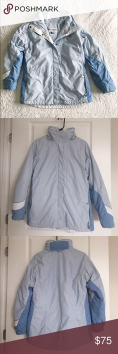 Columbia Ski Jacket Blue Columbia ski jacket in great condition. Comes with outer shell and inner removable fleece lining. Been worn and has one stain on the right sleeve but otherwise in great condition. Has hood that can be tucked away and many pockets. Very warm!    Bundle & Save: 20% off 2+ items!   No trades / selling off Posh.  ✔️ Reasonable offers always welcome. Columbia Jackets & Coats