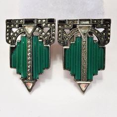 DAZZLING PAIR ART DECO MARCASITE ONYX CRYSTAL 1920s DRESS or MENS LAPEL CLIPS!