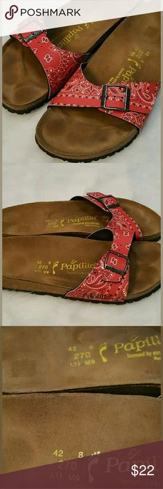 Birkenstock Papillo Red Bandana Print Sz 11 Sandle Excellent used condition Birkenstock sz 11  Thank You For Looking!  Please Check Our Other Items, We do combined shipping! ??  Cactus Flower Vintage ???? Birkenstock Shoes Sandals