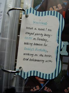 love this idea of large journaling card
