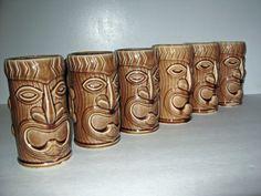 vintage brown TIKI mugs set of 6 ceramic 1960s kitsch bar. $78.00, via Etsy.