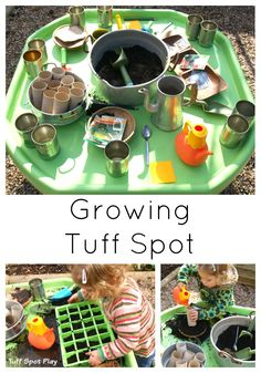 Garden Composting Gardening Tuff Spot to compliment spring / gardening / growing topic. Let children explore planting their own seeds in this messy outdoor play tuff tray. Eyfs Activities, Nursery Activities, Spring Activities, Preschool Activities, Indoor Activities, Family Activities, Outdoor Learning, Outdoor Play, E Learning