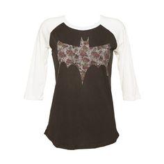 Ladies Black Floral Batman Logo Baseball T-Shirt from Junk Food ($51) - Polyvore
