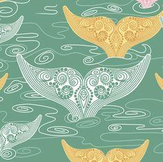 Summer_Whales_Aqua fabric by art_on_fabric on Spoonflower - custom fabric