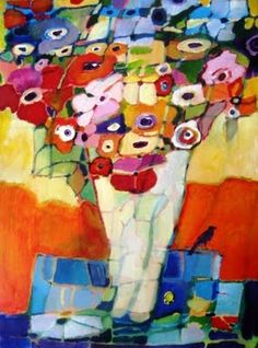 Colorful abstract floral painting. http://scarletowlstudio.blogspot.com/
