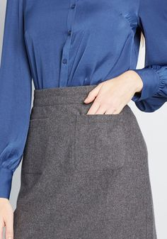 If anyone wants the scoop on this ModCloth namesake label pencil skirt you're rockin', all they have to do is ask! You've got all the deets on this. Work Skirts, Mini Skirts, Skinny To Fit, Long Pencil Skirt, Business Casual Attire, Gray Skirt, Piece Of Clothing, Dress Codes, Modcloth