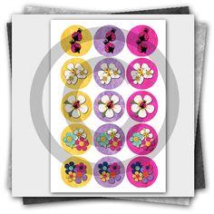 Ladybug & Daisies Printable Bottle Cap Images
