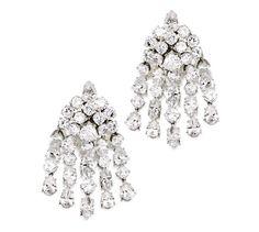 A Pair of Platinum and Diamond Earclips, Van Cleef & Arpels, New York, 1966