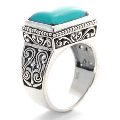 Sterling Silver Cabochon Turquoise Filigree Ring   Jewelry from Selena