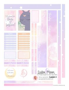 Free Printable Sailor Moon Planner Stickers {page two} from Organized Potato