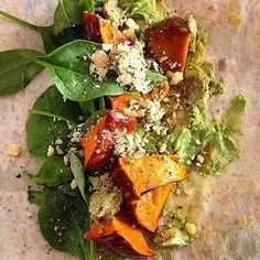 Via: @ faeriie | Rye Mountain Bread wrap with roast pumpkin, spinach, avocado, pesto and parmesan | Healthy Recipe