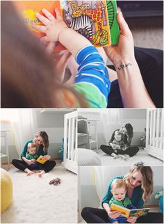 Seattle Lifestyle Photography, reading with baby