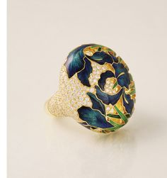 Igliz F. enamel and diamond ring; $15,700 #IglizF #diamond