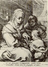 """Cornelis Drebbel after Hendrick Goltzius.  Dyeing: Drebbel made a new tin mordant process for dyeing the colour scarlet with cochineal. Treated mild red dye, cochineal, mixed with tin or pewter dissolved in nitric acid made this new colour. This process happened by accident when tin mixed with aqua regia fell into cochineal Drebbel had prepared for a thermometer. He  told his son-in-law, Abraham Kuffler. Abraham had a dyehouse and made """"colour Kufflerianus"""" as the new scarlet was called."""