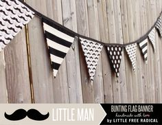 Little Man - Black & Cream Mustache Fabric Pennant Bunting Banner - READY TO SHIP -  party decor, nursery, playroom, photo prop on Etsy, $34.21 CAD