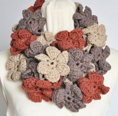 Floral Cotton Infinity Earth Crochet Multicolor 3D by jennysunny
