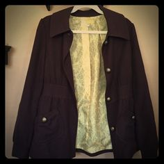 Anthropologie Tulle brown coat Light weight brown coat with yellow printed lining. Worn a lot. Good condition. No trades. No PayPal Tulle Jackets & Coats