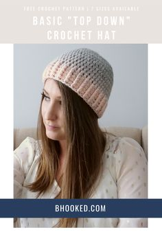 If you're looking for a crochet hat pattern that's as versatile as it is easy, this is the pattern for you. The Basic Top-Down Crochet Hat here at B.Hooked is great for donating, gifting and of course, if you are crocheting a hat for the first time.  #BHooked #Crochet #FreeCrochetPattern