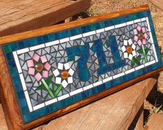 Mosaico muestra al aire libre / placa nombre o por BeadedGlass