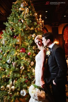 Bride and groom sharing a moment by the Christmas tree in the Green Room at the Hotel du Pont.  Photo Credit: Jennifer Childress Photography www.jennchildress.com  www.hoteldupont.com/weddings Green Rooms, At The Hotel, Photo Credit, Photo Ideas, Wedding Photos, Groom, Christmas Tree, In This Moment, Club