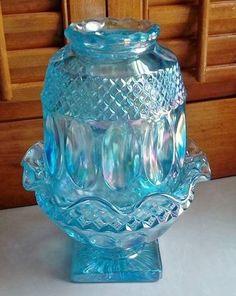 Westmoreland Fairy Lamp Iridescent Blue Vintage Glass #Westmoreland
