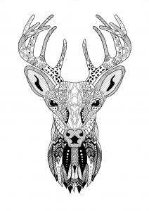 Coloriage Zentangle Renne Noel Coloring Christmas Coloring Pages