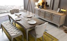 Kraliyet dekorasyonunu anımsatan karakteri, nostaljik dokusu ve kusursuz duruşuyla Antik Yemek Odası Takımı... #mobilya #yemek #yemekodası #yemekodaları