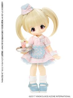 Azone is inviting you to the KP Diner. The adorable KIKIPOP! KP Diner girls are waiting to serve you. Pop Dolls, Cute Dolls, Beige Hair, Cream Soda, Smart Doll, Doll Stands, Girl House, Anime Figures, Disney Princess