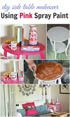 diy side table makeover with pink spray paint - an easy, fun project to add a flirty, feminine touch to your home #crafts #paint #diy #pinkdecor #doityourself