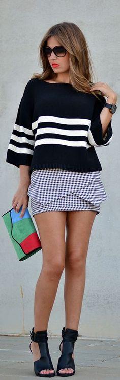 Check Skirt Houndstooth by Mi Aventura Con La Moda