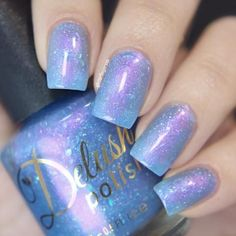 From the Mermaid Diaries collection, a delicate periwinkle, infused with holo flakies and color shifting purple shimmer, swimming alongside turquoise color shifting flakies, that's shore to remind you that anything is truly possible.