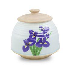 Large Ceramic Cremation Urn - Iris Bouquet