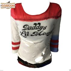 Harley Quinn T-shirt Suicide Squad shirt Daddy's Lil Monster Top Joker Costume Joker Cosplay Costume, Harley Quinn Halloween Costume, Joker And Harley Quinn, Anime Cosplay, Halloween 2020, Halloween Costumes, Arlequina Margot Robbie, Daddys Lil Monster, Gothic Fashion