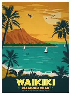 Travel Posters - American Cities by IdeaStorm Studio Store Landscape Illustration, Graphic Design Illustration, Art Deco Paintings, National Park Posters, Beach Print, Photo Wall Collage, Vintage Travel Posters, Oahu, Sailboat
