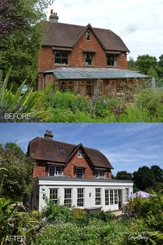 Set amongst beautiful cottage style gardens, this elevation of this red brick property has been transformed by Back to Front Exterior Design with new windows and a light and bright orangerie in a contrasting finish. Click to see more transformations > #homeremodelling #renovation #remodelling #homeinspiration #orangerie Farnham Surrey, Kerb Appeal, Red Bricks, Cottage Style, Exterior Design, Home Remodeling, Bungalow, Sweet Home, Gardens